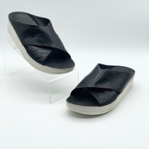 FitFlop Leather Fit Flop Cross Slide Wedge Sandals